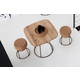 Domitalia Barrique 3pc Bar Table Set with Oak Veneered Top & Buchon-SGB Counter Stools in Bronze