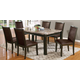 Acme Dwayne 7PC Emperadora Marble Top Dining Room Set with Charissa Upholstered Chairs in Dark Walnut
