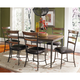 Hillsdale Cameron 7pc Rectangle Dining Room Set w/ Ladder Back Dining Chairs in Chestnut Brown