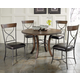 Hillsdale Cameron 5pc Round Metal Ring Dining Room Set w/ X-Back Dining Chairs in Chestnut Brown