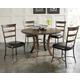 Hillsdale Cameron 5pc Round Metal Ring Dining Room Set w/ Ladder Back Dining Chairs in Chestnut Brown