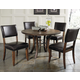 Hillsdale Cameron 5pc Round Metal Ring Dining Room Set w/ Parson Dining Chairs in Chestnut Brown