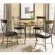 Hillsdale Cameron 5pc Simple Round Dining Room Set w/ X-Back Dining Chairs in Chestnut Brown