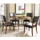 Hillsdale Cameron 5pc Simple Round Dining Room Set w/ Parson Dining Chairs in Chestnut Brown