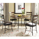 Hillsdale Cameron 5pc Simple Round Dining Room Set w/ Ladder Back Dining Chairs in Chestnut Brown