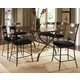 Hillsdale Cameron 7pc Rectangle Counter Height Dining Room Set w/ Non-Swivel Ladder Back Counter Stools in Chestnut Brown