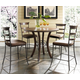 Hillsdale Cameron 5pc Round Counter Height Dining Room Set w/ Non-Swivel Ladder Back Counter Stools in Chestnut Brown