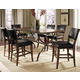 Hillsdale Cameron 7pc Rectangle Counter Height Dining Room Set w/ Non-Swivel Parson Counter Stools in Chestnut Brown
