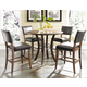 Hillsdale Cameron 5pc Round Counter Height Dining Room Set w/ Non-Swivel Parson Counter Stools in Chestnut Brown