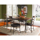 Hillsdale Cameron 5pc Rectangle Dining Room Set w/ Ladder Back Dining Chairs in Chestnut Brown