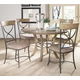 Hillsdale Charleston 5pc Round Metal Ring Dining Room Set w/ X-Back Dining Chairs in Desert Tan
