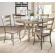 Hillsdale Charleston 5pc Round Metal Ring Dining Room Set w/ Ladder Back Dining Chairs in Desert Tan