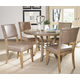 Hillsdale Charleston 5pc Round Metal Ring Dining Room Set w/ Parson Dining Chairs in Desert Tan