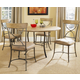 Hillsdale Charleston 5pc Simple Round Dining Room Set w/ X-Back Dining Chairs in Desert Tan