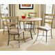 Hillsdale Charleston 5pc Simple Round Dining Room Set w/ Ladder Back Dining Chairs in Desert Tan