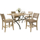 Hillsdale Charleston 5pc Rectangle Counter Height Dining Room Set w/ Non-Swivel Parson Counter Stools in Desert Tan