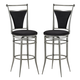 Hillsdale Cierra Swivel Bar Stool with Black Faux Suede in Pewter (Set of 2) 4903-830