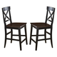 Hillsdale Englewood Non-Swivel Counter Stool in Rubbed Black and Brown Cherry (Set of 2) 4884-822