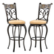 Hillsdale Pompei Swivel Bar Stool in Black/ Gold (Set of 2) 4442-830
