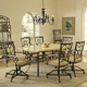 Hillsdale Brookside 7pc Rectangle Dining Room Set with Oval Caster Chairs in Brown Powder Coat