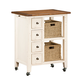 Hillsdale Tuscan Retreat™ Kitchen Cart with Four Drawers & Two Shelves with Two Baskets in Country White 5465-883W