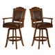 Hillsdale Nassau Game Swivel Bar Stool in Brown (Set of 2) 6060-830