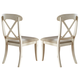 Liberty Furniture Ocean Isle Upholstered X Back Side Chair (Set of 2) in Bisque with Natural Pine 303-C3001S