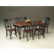 A-America British Isles 7pc Oval Leg Dining Set in Oak/Black