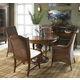 Fine Furniture Summer Home 5pc Round Dining Table with Cottage Wicker Arm Chairs Dining Room Set 1050