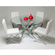 Pastel Furniture 5pc Fahrenheit Round Dining Room Set with Aria Side Chair in Chrome