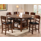 Crown Mark Conner 7pc Counter Height Set in Medium Brown
