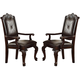Crown Mark Kiera Dining Arm Chair in Warm Brown (Set of 2) 2150A