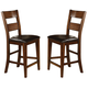 Crown Mark Figaro Counter Height Chair in Warm Medium Brown (Set of 2) 2701S-24