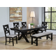 Crown Mark Havana 8 Piece Rectangular Trestle Dining Set in Dark Brown