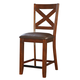 Standard Furniture Omaha X-Back Counter Height Bar Stool (Set of 2) in Saddle Brown 16194