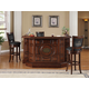ECI Furniture Guinness 3-Piece Raised Panel Bar with Armless Stool Set in Distressed Walnut
