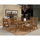 Broyhill Bethany Square 7Pc Rectangular Trestle Dining Set in Mid-Tone Brown