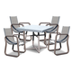 Skyline Design Oregon 5 Piece Square Dining Set in Silver Walnut