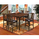 New Classic Latitudes 7 Piece Counter Height Round Corner Dining Set in Chestnut