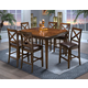 New Classic Latitudes 7 Piece Counter Height Cut Corner Dining Set in Chestnut