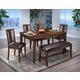 New Classic Latitudes 6 Piece Cut Corner Dining Set in Chestnut