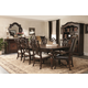 Bernhardt Eaton Square 9pc Rectangular Dining Room Set w/ Splat Back Side Chairs & Leather-Upholstered Arm Chairs in Harvest Brown