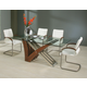 Pastel Furniture 5pc Akasha Rectangular Dining Room Set with Side Chairs in Walnut