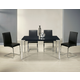 Pastel Furniture 5pc Fort James Rectangular Dining Room Set with Monaco Side Chair in Chrome