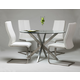 Pastel Furniture 5pc Eritrea Round Dining Room Set with Olander Side Chair in Stainless Steel