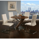 Pastel Furniture 5pc Indiana Round Dining Room Set with Olander Side Chair in Stainless Steel