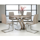 Pastel Furniture 5pc Quanto Basta Round Dining Room Set with Side Chair in Stainless Steel