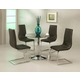 Pastel Furniture 5pc Sundance Round Dining Room Set with Skyline Side Chair in Chrome