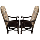 American Drew Casalone Upholstered Arm Chair in Dark Walnut (Set of 2)
