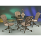 Pastel Furniture 5pc Verdugo Round Dining Room Set w/ Magnolia Side Chair in Autumn Rust